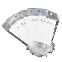 100 White Earring Display Cards with Self Adhesive Bags