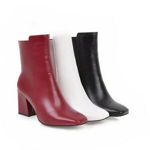 Women Chunky Heel Leather High-heel Square Toe Ankle Boots OL Casual SHoes Zip