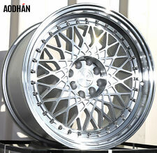 AODHAN AH05 Wheels 17X9 4X100/114.3 +25 SIlver Rims Fits Civic Crx Mini Cooper