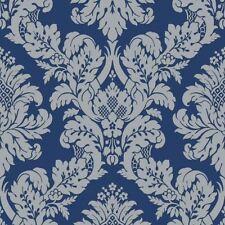 GLITTER DAMASK WALLPAPER BLUE / SILVER - PEAR TREE UK10457