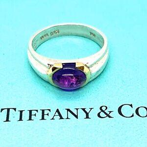 Tiffany & Co. Sterling Silver 18k Gold Amethyst Ring. Sz.4.5