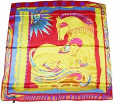 "Big scarf 35""Square 100% Silk Scarf Twill Large Shawl Wraps Print sun god horse"