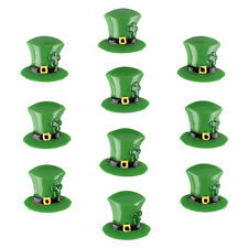 New10pcs St. Patrick's Day Irish Shamrocks Hat In Green Flatback Resin Hair Bow