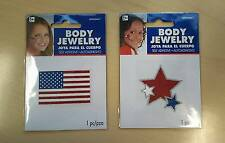 American Flag red white blue stars face body jewelry stickers parade 4th of July