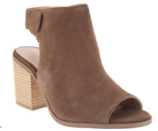 Sole Society Suede Peep-Toe Ankle Booties Jagger Dark Taupe Women's Size 9.5 New