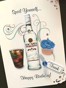 Personalised Handmade 'Bacardi & Cupcake' Birthday Card