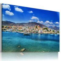 ITALY BOATS BEACH SEA CANVAS WALL ART PICTURE  AZ193 MATAGA UNFRAMED-ROLLED