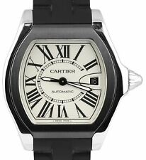 Men's Cartier Roadster Silver Automatic 3312 Black Rubber 40mm Roman Dial Watch