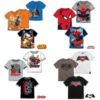 Boys T-Shirt Short Sleeve Top Star Wars Spiderman Avengers Age 3-14 Cotton New