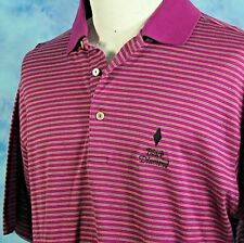Peter Millar Golf Shirt Black Diamond Violet Striped Mercerized Cotton Mens M