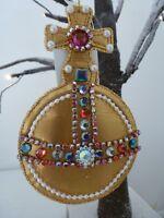 Gisela Graham Royal Red/Gold Fabric & Jewel Orb Christmas Dec (2 asst) 12.5cms