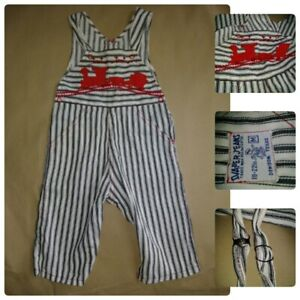 VTG Diaper Jeans 6-9M White Striped Overalls Toot Toot Train Gripper   1950S?