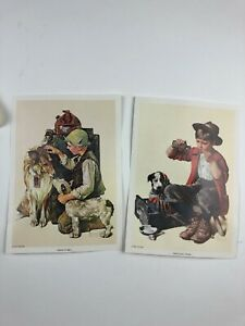 2 Norman Rockwell 5x7 Lithograph Prints FRIEND IN NEED 1972 PRACTICING INTERN 82