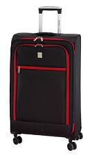 Koffer Trolley Reisekoffer Stoff sw-rot LEICHT 2,2 kg 46 Liter 65 x 40 x 22 cm