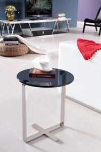 Sari Mirror Pollished Stainless Steel Side Table With Black tempered Glass