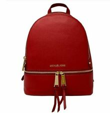 MICHAEL KORS RHEA ZIP Red Pebble Leather Backpack NEW Defective