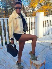 Rare Designer leather & white sable Mutation Mink Fur Coat Jacket Stroller S 0-6