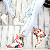 Neu Damen Sneaker Keilabsatz Wedges Damenschuhe mit Klettverschluss