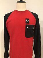 NWOT Raf Simons Mens Sweatshirt Red Black Streetwear Fred Perry Size 38