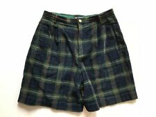 VNTG 80s Corduroy Green & Blue Plaid Wide Leg High Waisted Shorts SMALL Pleated