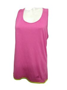 Adidas Women LARGE Sleeveless Athletic Tank Top Solid Pink Round neck(#m2