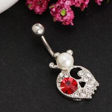 Cute Rhinestone Skull Head Pearl Crown Barbell Navel Ring 1.8mm Piercing