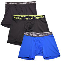AND1 Men's 3 Pack Performance Boxer Briefs (S09)