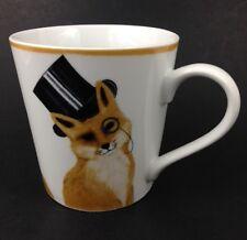 Hey Foxy Large Coffee Tea Ceramic Mug Posh Fox in Top Hat Monocle exclusive OOP