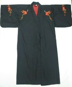Kimono Long Dressing Gown Made in Japan Floral Print Black Japanese One Size