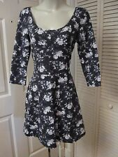 NEW NWT AMERICAN EAGLE OUTFITTERS GRAY BLACK FLORAL COTTON SPANDEX CUTE DRESS L