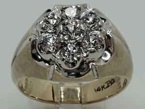 Mens 14k Solid Yellow Gold 1.20tcw Natural Diamond Kentucky Cluster Ring Size 10