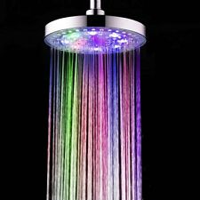 "LED Light Spa Therapy Shower Head 8"" Round Multi Color Changing H2O Water Power"