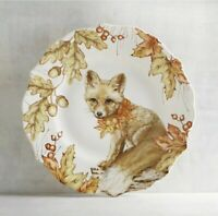 Set of (4) Pier 1 MAZEY Critters CHLOE FOX Salad Plate Set Fall Thanksgiving NWT