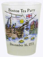 BOSTON TEA PARTY HISTORICAL SHOT GLASS SHOTGLASS