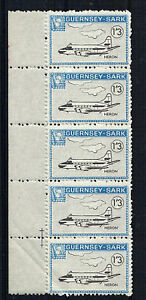 SARK 1966 DEFINITIVES 1/3d HERON AIRCRAFT MNH STRIP OF 5 STAMPS