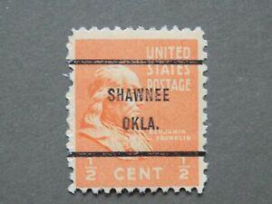 (1) MNH U. S. PRECANCEL DEFINITIVE stamp-1/2 c Franklin with a SHAWNEE, OK Prec.