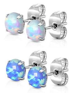 Opal Style Stud Earrings - Hypoallergenic 316L Steel - BOXED - 3mm 4mm or 5mm