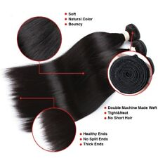 "Indian  Virgin Hair Straight 3 Bundles 10""12""14"" With 10"" 4 by 4 Lace Closure"