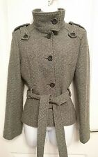 DESIGNER TED BAKER Brown, Green and Cream Wool Blend Jacket - Size 3 (UK 10)