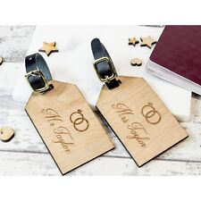 2pcs Personalised Wooden Luggage Tag Just Married Rings Suitcase Tags 103
