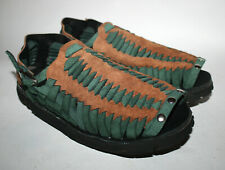 TREADS 1970's Retro Style Women's Shoes Sandals Brown & Dark Green Suede Leather