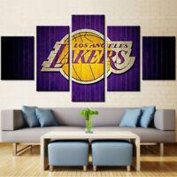 Los Angeles Lakers LA 5 pcs Painting Printed Canvas Wall Art Home Decorative