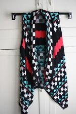 Knit Black White Hot Pink Checkerd Sleeveless Shrug Plus Size 3X