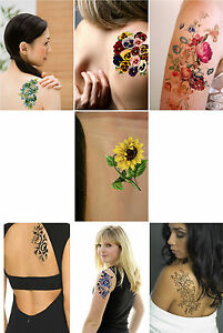 Flower Temporary Tattoo, vintage inspired floral art fake tattoo