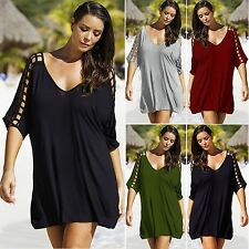 Cotton Blend V Neck Casual Plus Size Tops & Shirts for Women
