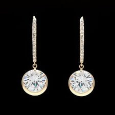 8.00 CT Created Diamond Round Bezel Leverback Earrings 14k Yellow Gold Dangle