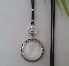 Magnifying Glass Statement Necklace pendant watch silver cord black long adjust