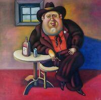 DER SHERIFF canvas Öl auf Leinwand Gemälde Gr. ca. 33x33 cm