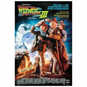 Michael J. Fox and Cast Autographed Back to the Future Part III 27x40 Poster
