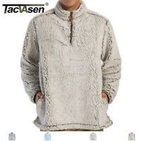 Men 1/4 Zip Sherpa Pullover Sweater Fleece Jacket Cashmere Cardigan Jacket Coats